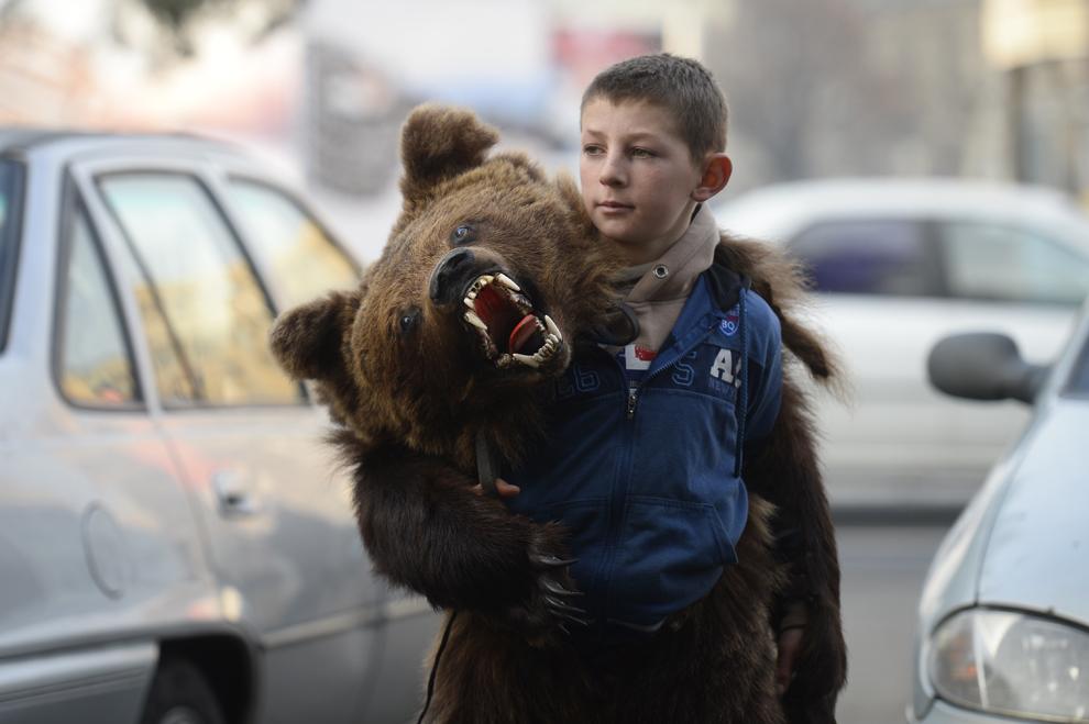 Un copil costumat în urs, din comuna Dofteana, judeţul Bacău, dansează pe străzile din centrul Bucureştiului, marţi, 15 decembrie 2014.