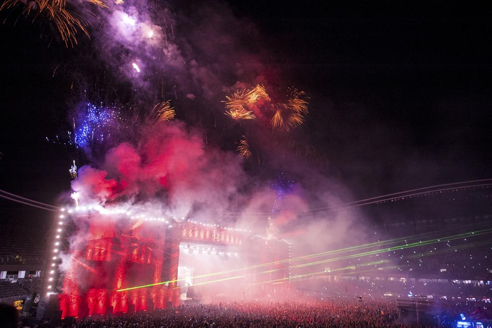 David Guetta mixeaza in cadrul festivalului Untold, pe stadionul Cluj Arena, in Cluj-Napoca, duminica, 2 august 2015.