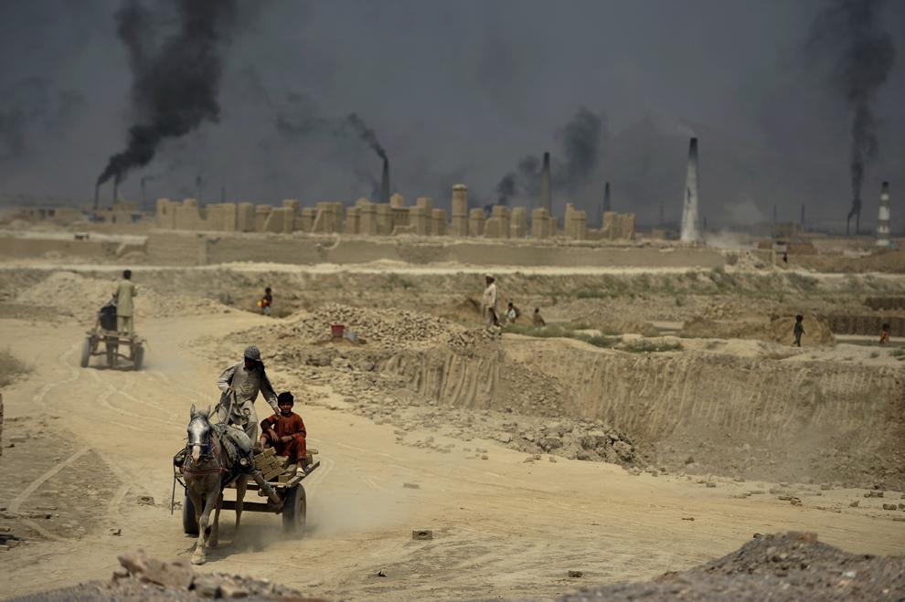 Muncitori afgani cară cărămizi cu o caruţă trasă de un măgar, la o fabrica de cărămizi de la periferia Kabulului, duminică, 2 septembrie 2012.