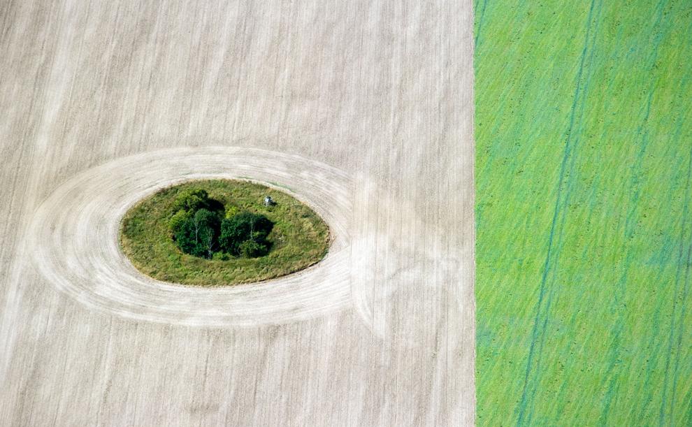 O fotografie aeriană  înfăţişează un rond de copaci şi iarbă în mijlocul unui câmp, în apropiere de Trebbin, în estul Germaniei, marţi, 4 septembrie 2012.