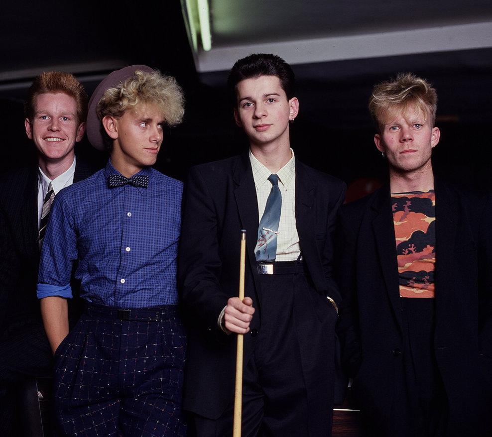 Trupa britanică Depeche Mode - Andrew Fletcher, Martin Gore, Vince Clark şi Dave Gahan, în 1981.