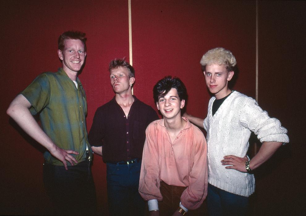 Trupa britanică Depeche Mode - Andrew Fletcher, Vince Clark, Dave Gahan şi Martin Gore, în 1980.