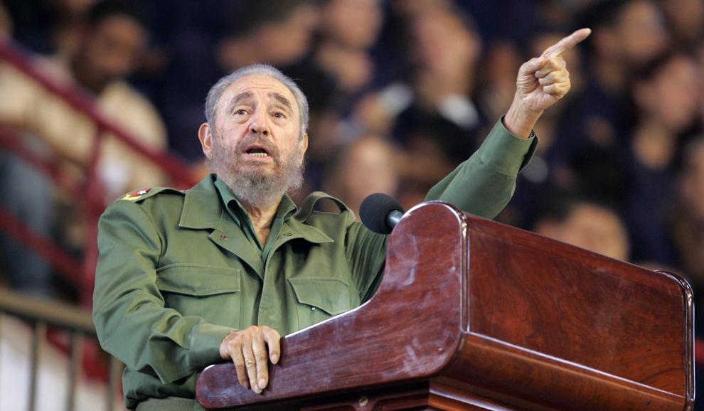 Preşedintele cubanez, Fidel Castro susţine un discurs în timpul ceremoniei de inaugurare a Jocurilor Olimpice Sportive III din Havana, luni, 24 aprilie 2006.