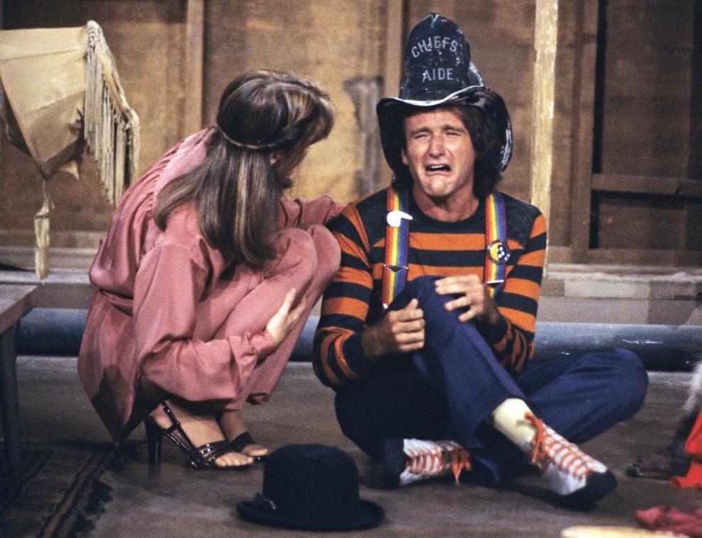 """Imagine din timpul filmărilor serialului """"Mork and Mindy"""", 16 noiembrie 1978."""