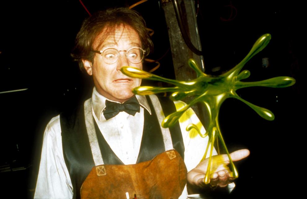 """Imagine de pe platoul de filmare al filmului """"Flubber"""", 1997."""