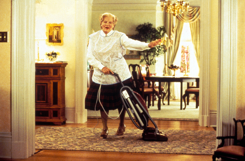 """Imagine de pe platoul de filmare al filmului """"Mrs Doubtfire"""", 1993."""