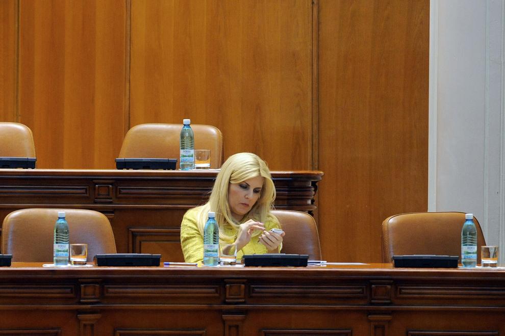 Ministrul turismului, Elena Udrea, participa la sedinta extraordinara a Parlamentului, in Bucuresti, luni, 23 ianuarie 2012.