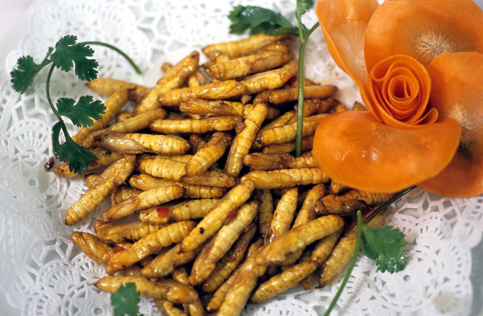 O porţie de larve de albină poate fi văzută la restaurantul 'Fresh Wildlife', specializat în diverse insecte, în Guangshou, China.