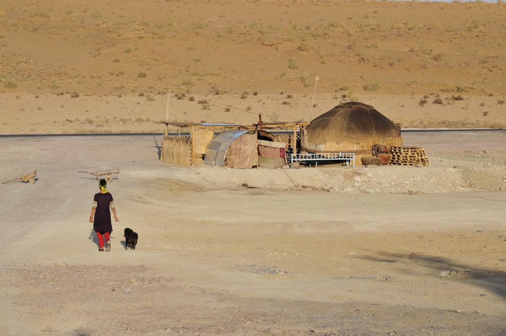 Peisaj din Desertul Karakum, în Turkmenistan, septembrie 2013.