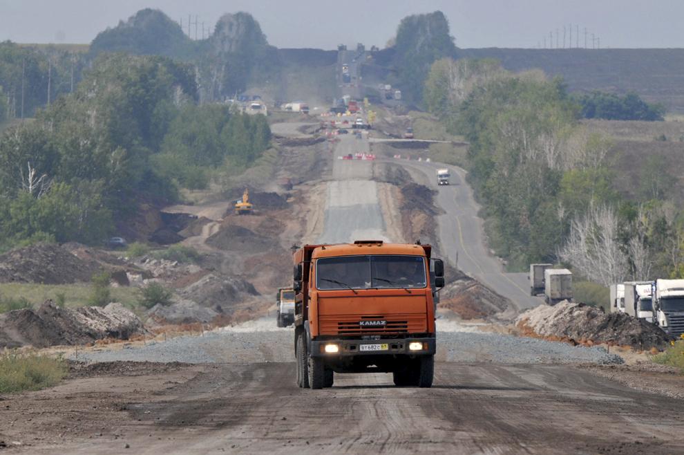 Imagine cu autostrada M5, în Rusia, între Samara şi Ufa, iulie 2013.