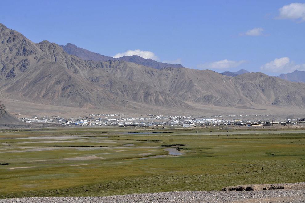Imagine cu oraşul Murghab, în Tadjikistan, septembrie 2013.