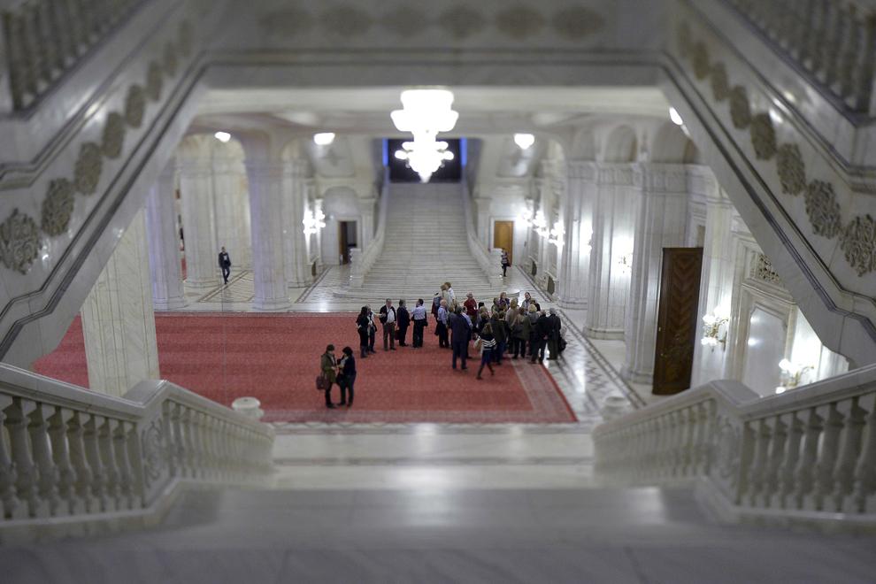 Interior din Palatul Parlamentului, Bucureşti, marţi, 8 aprilie 2014.