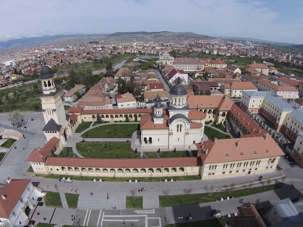 Fotografie aeriană, realizată în Alba Iulia, marţi, 15 aprilie 2014.