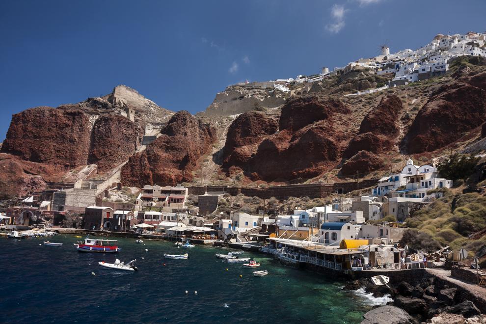 Vechiul port Amoudi de pe insula Santorini.