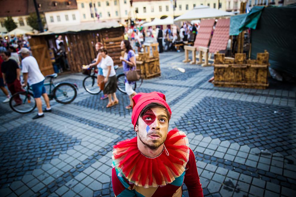 Imagine din cadrul Festivalului Medieval Cetăţi Transilvane Sibiu 2015, desfăşurat în Piaţa Mare din Sibiu, duminică, 30 august 2015.