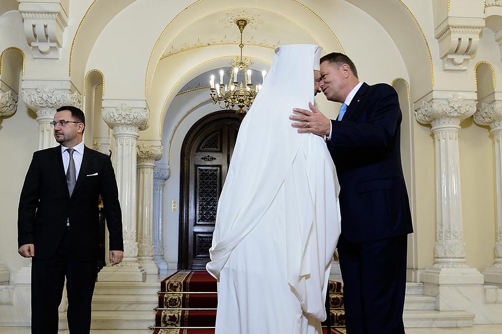 Patriarhul Daniel este primit la Palatul Cotroceni de preşedintele României, Klaus Iohannis, in Bucureşti, miercuri, 7 octombrie 2015.