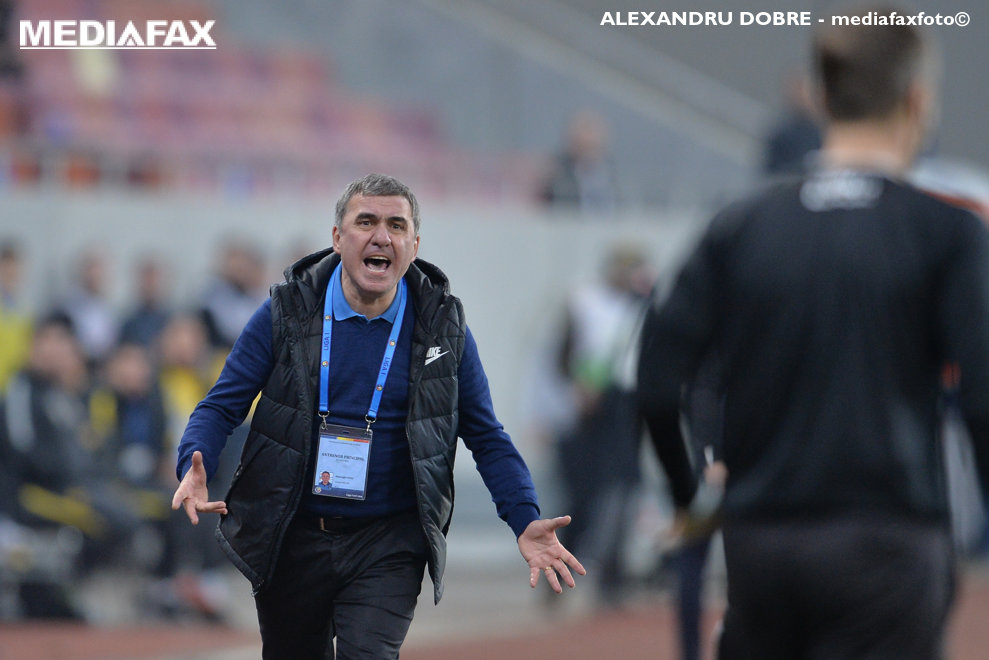 Gheorghe Hagi, antrenorul echipei FC Viitorul,reactioneaza in timpul meciului de fotbal contra echipei FCSB, in prima etapa a play-off-ului Ligii 1, pe Arena Nationala din Capitala, duminica, 11 martie 2018.