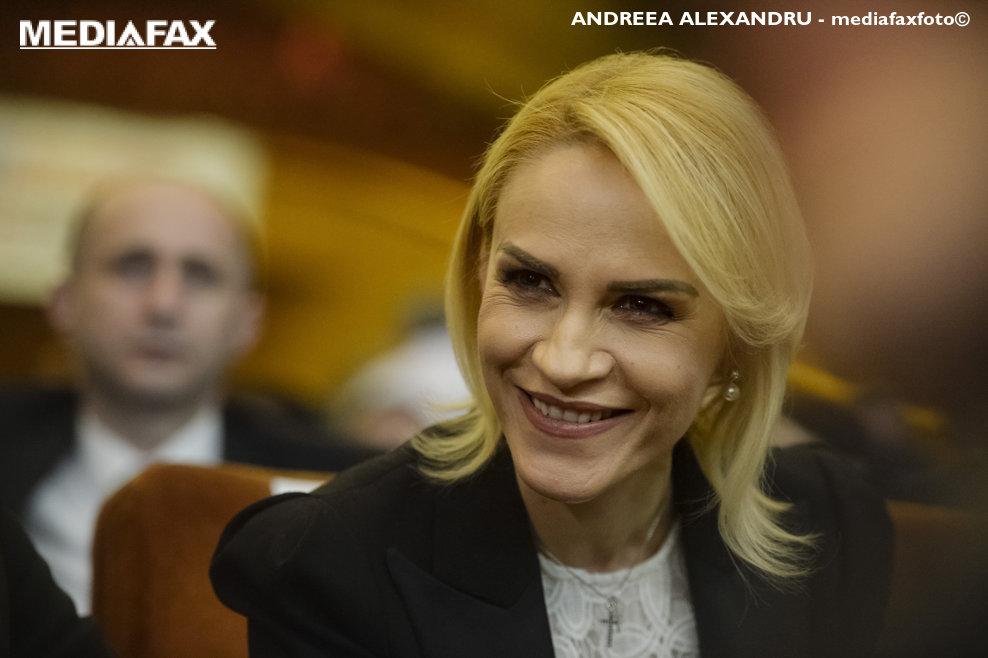 Primarul Muncipiului Bucuresti, Gabriela Firea, reactioneaza in timpul Congresului Extraordinar al Partidului Social Democrat (PSD), desfasurat la Sala Palatului din Bucur