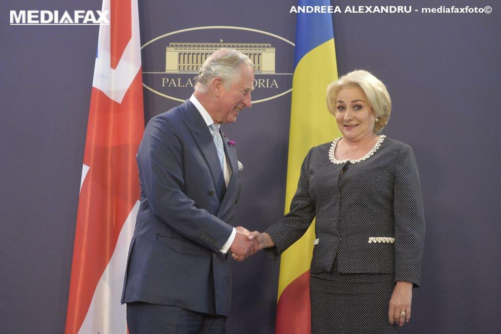 Alteta Sa Regala Charles, Print de Wales, aflat in vizita in Romania, s-a intalnit cu premierul Viorica Dancila, la Palatul Victoria, vineri 30 mai 2018.  ANDREEA ALEXANDRU / MEDIAFAX FOTO
