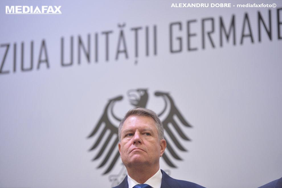 Presedintele Klaus Iohannis participa la evenimentul organizat cu prilejul Zilei Unitatii Germane, in Bucuresti, marti 2 octombrie 2018. ALEXANDRU DOBRE / MEDIAFAX FOTO