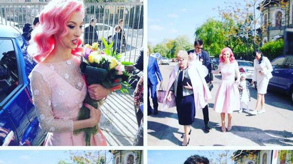 Andreea Bălan a oscilat între roz pal şi albastru electric la botezul fiicei sale! - FOTO