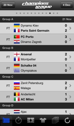 Livescore Champions League