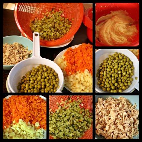 salată boeuf cu carne piept de curcan