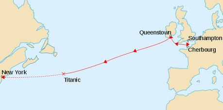 Traseul pe care trebuia sa il urmeze Titanicul, in 1912