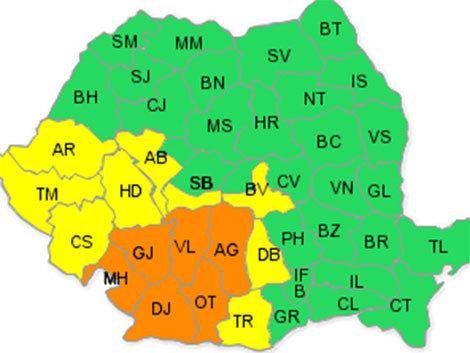 Cod portocaliu şi galben de ploi în mai multe judeţe din ţară