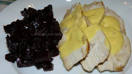 friptura de sos alb si sfecla rosie caramelizata