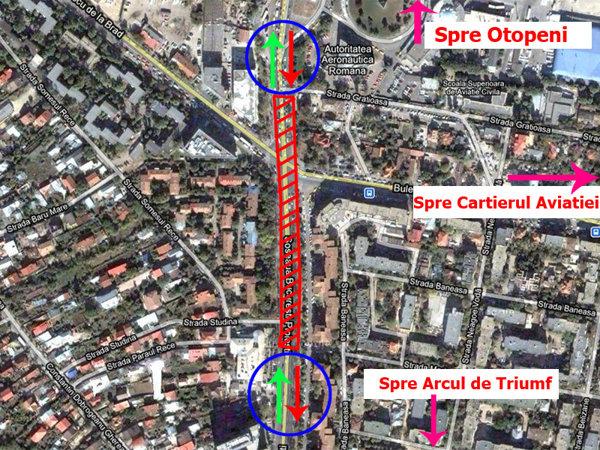 Harta zonei unde se afla pasajul Baneasa