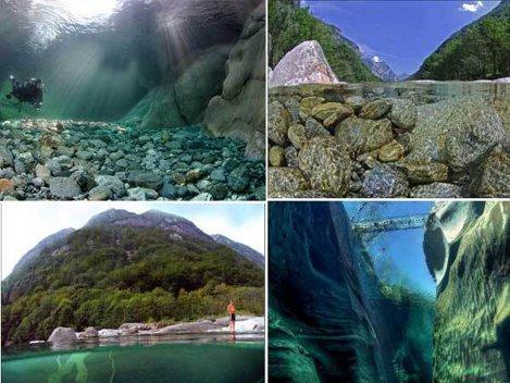 Râul Verzasca din Elveţia, cel mai limpede din lume (Video)