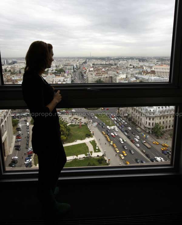 Bucurestiul vazut de la etajul 21al Hotelului Intercontinental