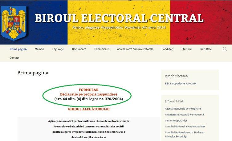 Declaraţia pe propria răspundere pentru votanţii din diaspora a fost postată online de MAE şi BEC