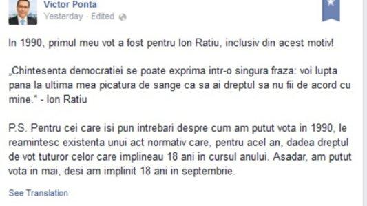 Mesajul fiului lui Ion Raţiu pentru Victor Ponta
