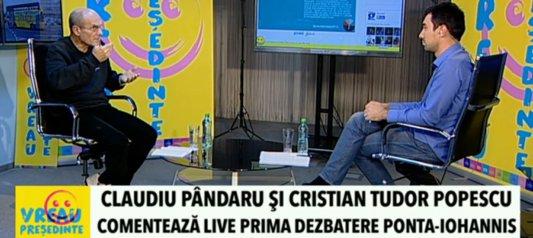 KLAUS IOHANNIS ŞI VICTOR PONTA - PRIMA DEZBATERE ELECTORALĂ. Cristian Tudor Popescu şi Claudiu Pândaru comentează confruntarea