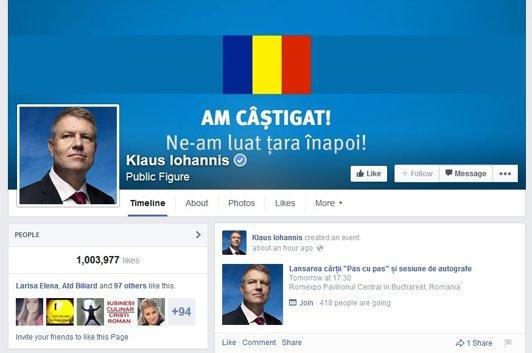 Iohannis a câştigat bătălia cu Ponta la fani pe Facebook cu 55% la 45%, la fel ca la urne
