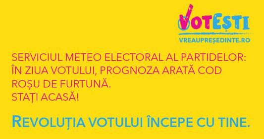 Serviciul meteo electoral al partidelor: În ziua votului, prognoza arată COD ROŞU pe furtună. Staţi acasă!