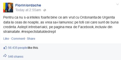 Am postat pe pagina de Fb a lui ministrul de injustitie Iordache F.