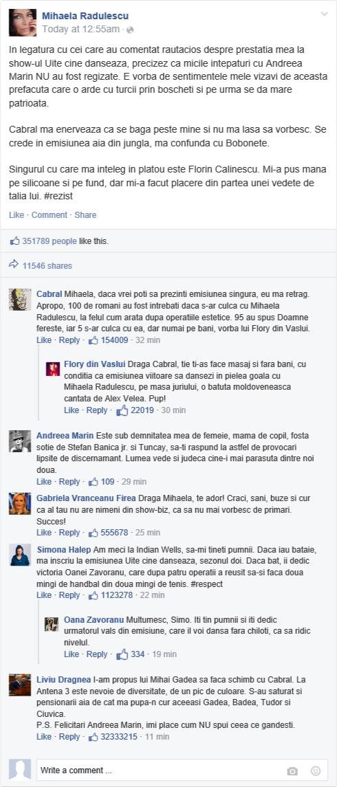 Senzaţional! Ce a postat Flory pe pagina de Facebook a Mihaelei Rădulescu