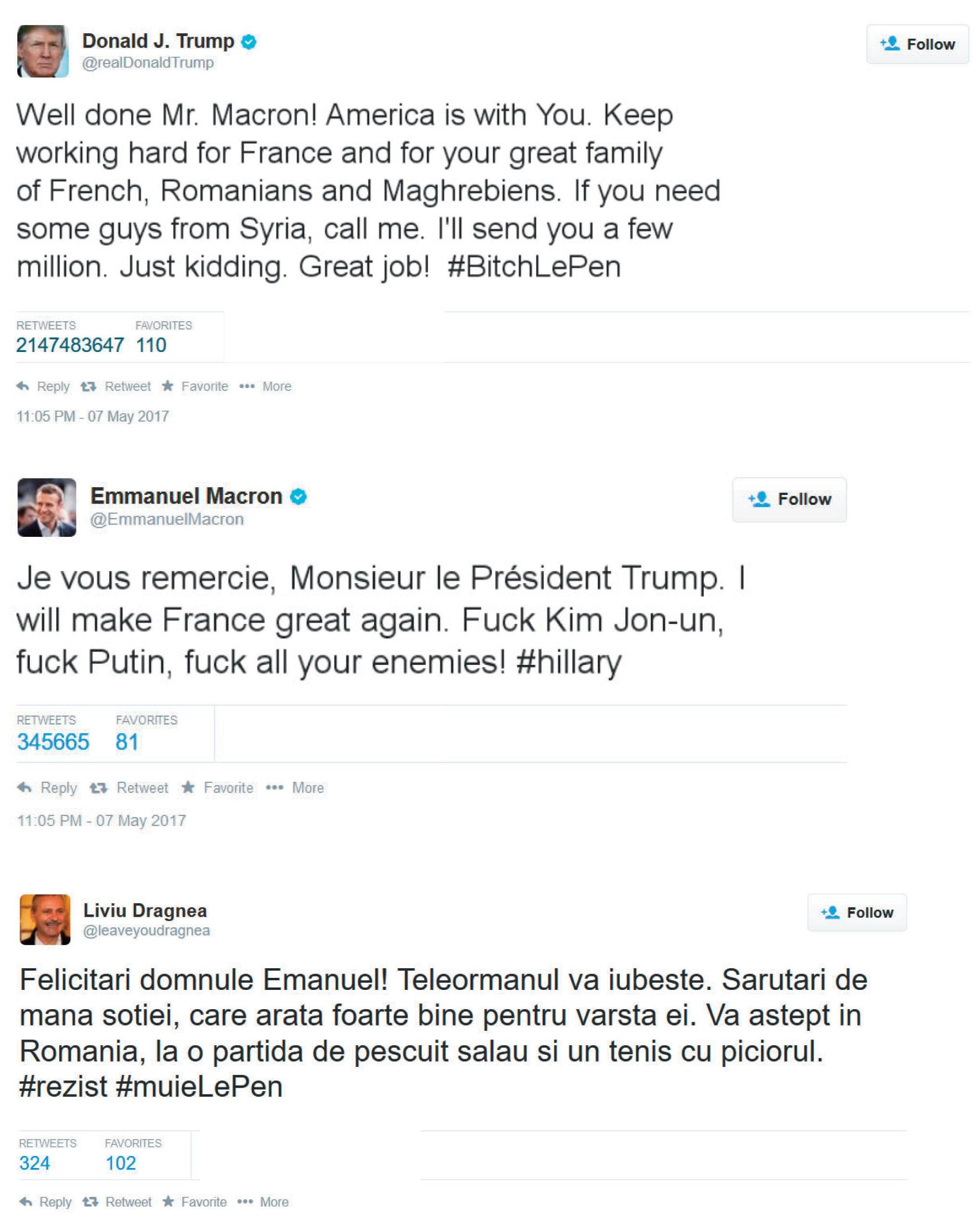 Twitter-ul a luat foc! Trump şi Dragnea l-au felicitat pe E. Macron