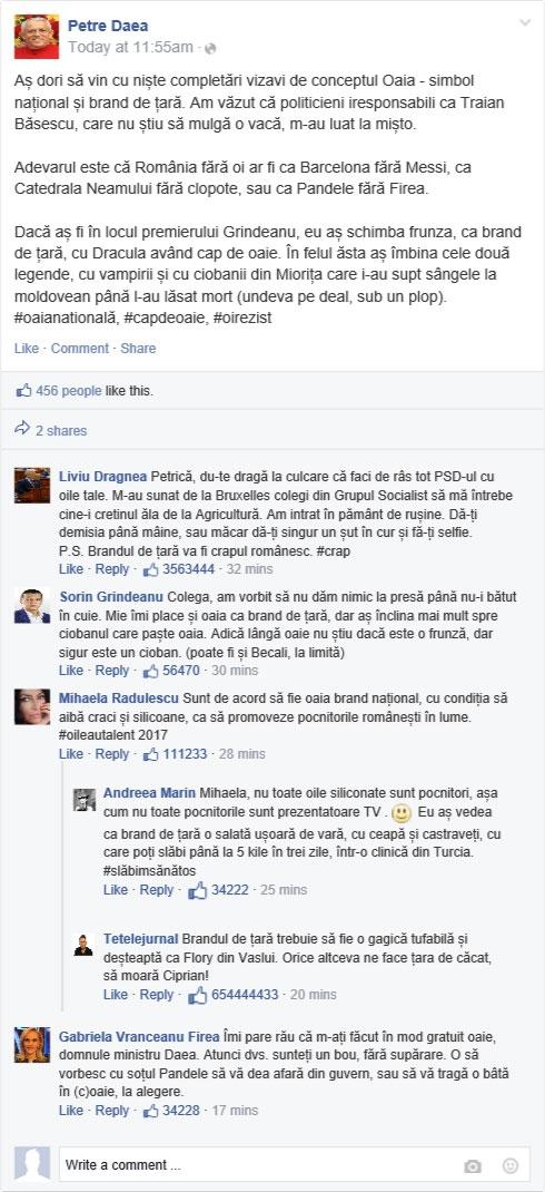 EXCLUSIVITATE! Ministrul Daea a explicat pe Facebook despre oaia - brand naţional