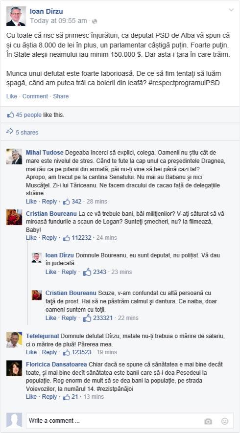 Deputatul PSD Ioan Dîrzu nu e mulţumit cu 8.000 de lei în plus la indemnizaţie. Vezi ce replică i-a dat Tetelu pe Facebook