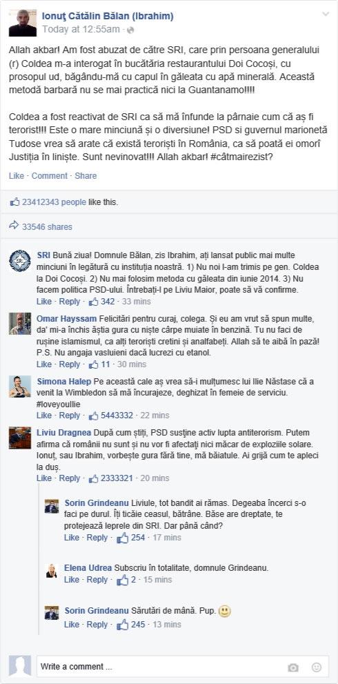 """EXCLUSIV! Acuzaţii cutremurătoare ale """"teroristului"""" Ionuţ Bălan, zis Ibrahim. SRI contraatacă"""