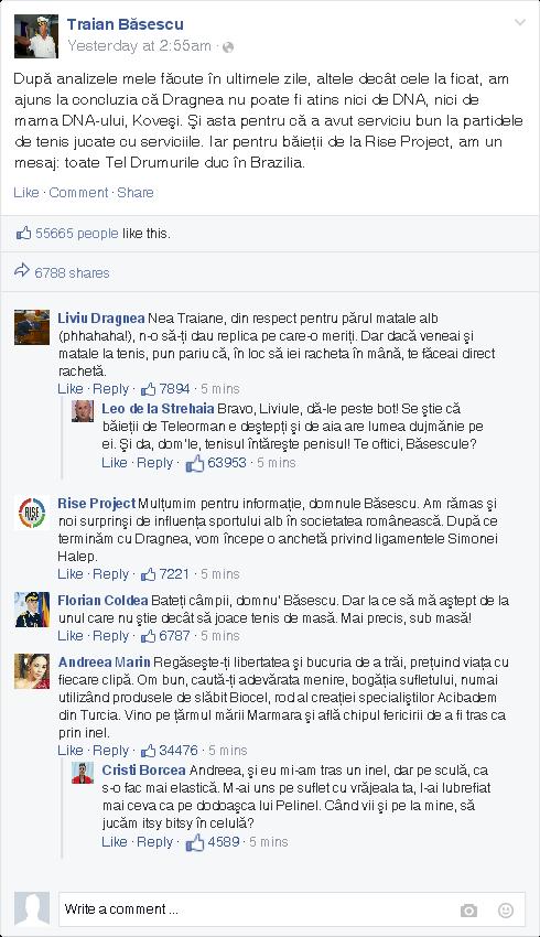Şoc şi groază! Andreea Marin a postat pe pagina de Facebook a lui Băsescu