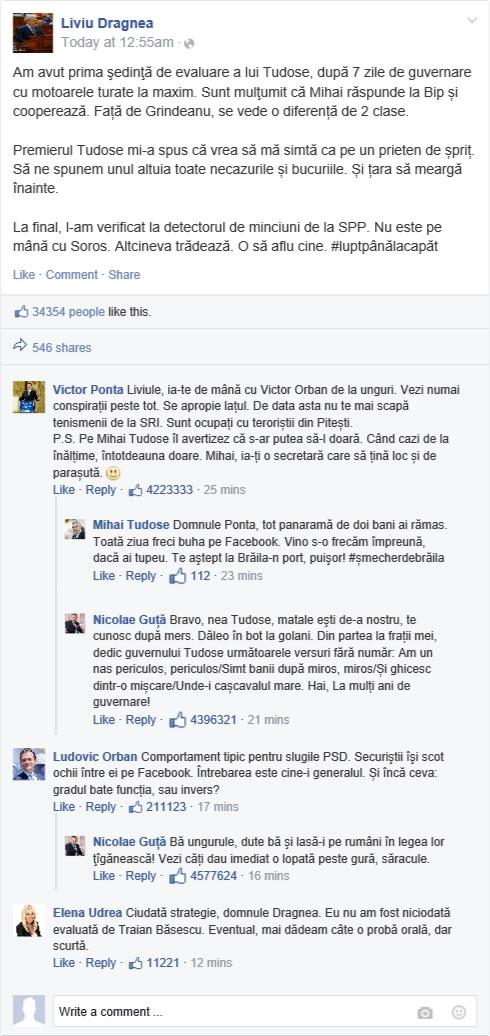 Surpriză! Liviu Dragnea a pus raportul de evaluare pe Facebook