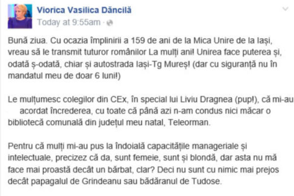 Incendiar! Ce a postat pe Facebook premierul Vasilica Dăncilă
