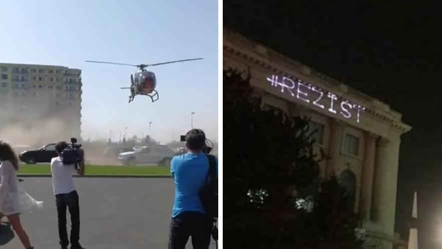 Omori lumea cu elicopterul la Mamaia şi nu păţeşti nimic, dar dacă scrii #REZIST cu laserul te saltă imediat miliţia!