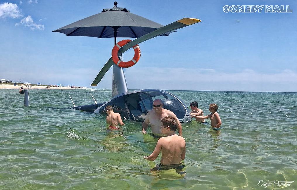 Noua fiţa la Mamaia. Cine e cocalarul care a intrat cu elicopterul în mare?