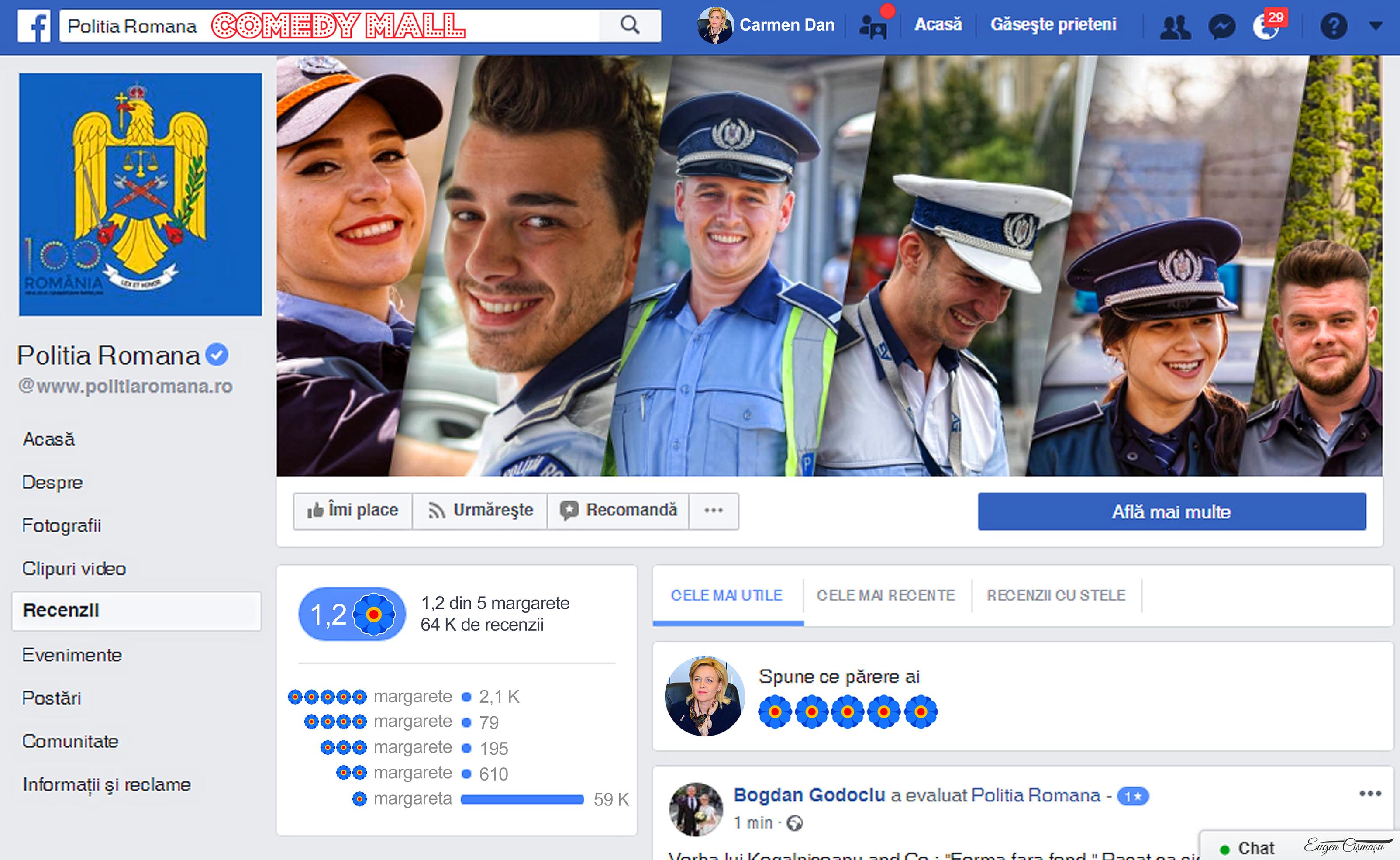 După prăbuşirea de pe Facebook, ratingul Poliţiei Române nu se va mai măsura în stele ci în margarete!